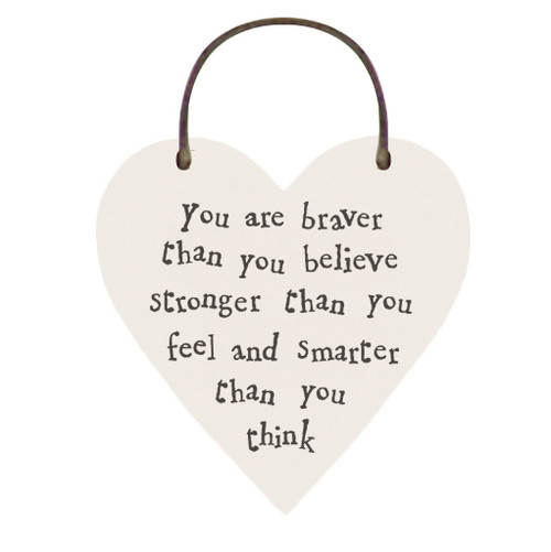 """Little Wooden Heart Tag """"You are Braver """""""