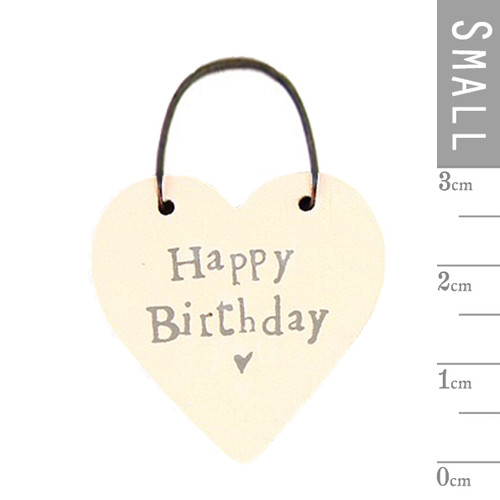 """Little Wooden Heart Tag """"Happy Birthday"""""""