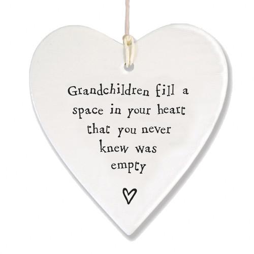 "Porcelain Heart ""Grandchildren Fill Space """
