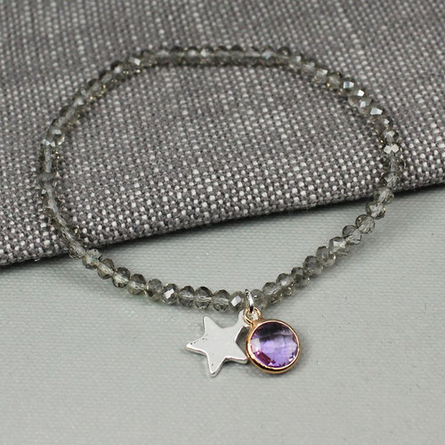 Grey Beaded Bracelet with Star & Crystal Charms