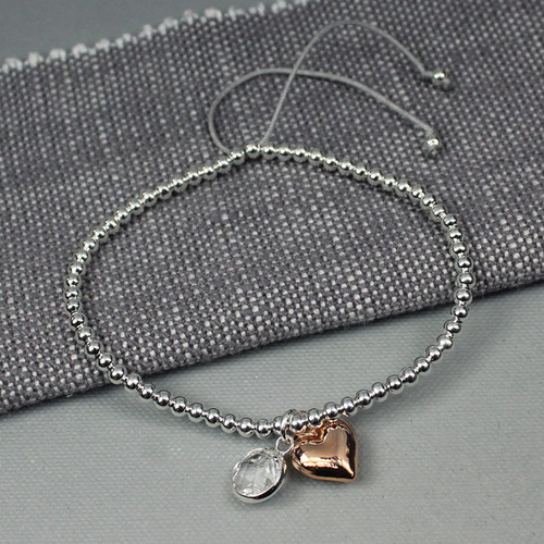 Silver Friendship Bracelet with Heart & Crystal Charms