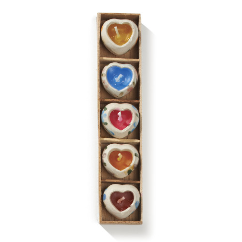 Tray of 5 handpainted ceramic heart candles.