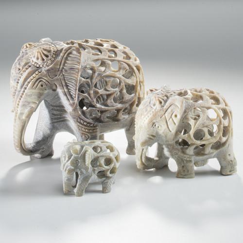 Medium Hand Carved Soapstone Elephant