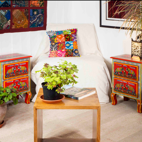 Set of 2 Bedside Cabinets 2 Drawers Red Elephant Design