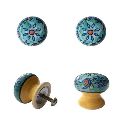 Set of 4 Floral Ceramic Door Knobs Light Blue
