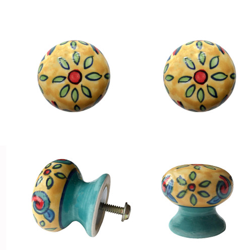 Set of 4 Floral Ceramic Door Knobs Cream