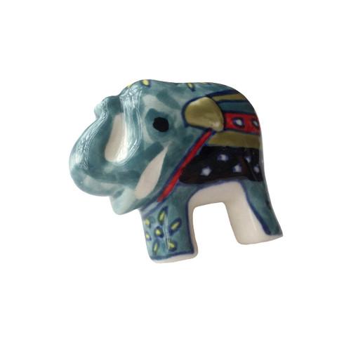 Set of 4  Hand Painted Elephant Door Knobs Teal