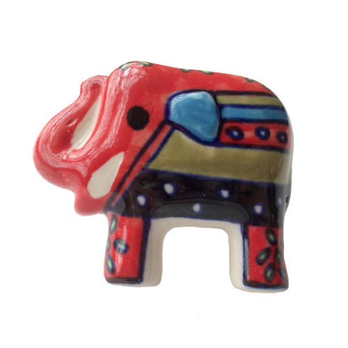 Set of 4  Hand Painted Elephant Door Knobs Red