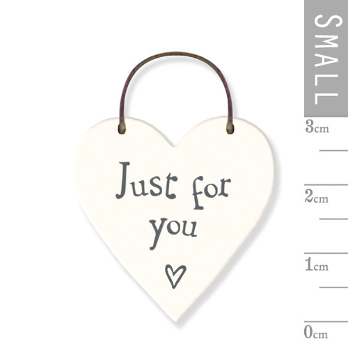 "Little Wooden Heart Tag - ""Just For You"""