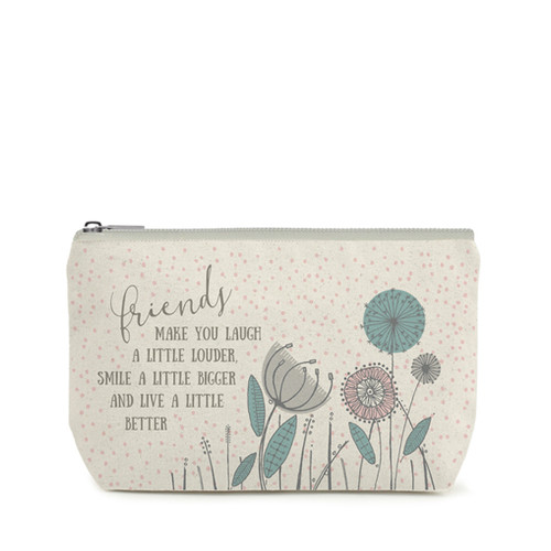 Quote Toiletry Bag 'Friends Make You Laugh A Little Louder …'