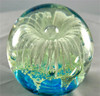 Glass Globe-White Flower with Ocean Blue Bottom-Glow In The Dark