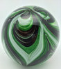Green and Black Swirl Paperweight/Glow In The Dark/Art Glass/Home Decor