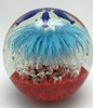 Blue and White Glass Flower Paperweight with Dolphins/Home Decor