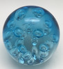 Large Spa Bubbles Paperweight/Aquamarine/Handcrafted/Blown Glass Art