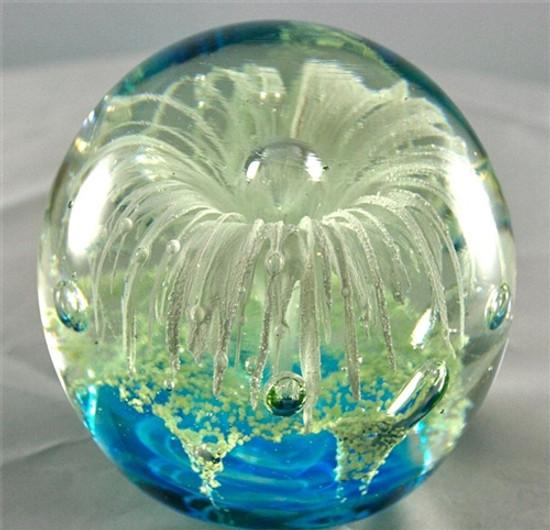 Glass Globe-White Flower with Ocean Blue Bottom-Glow In The Dark