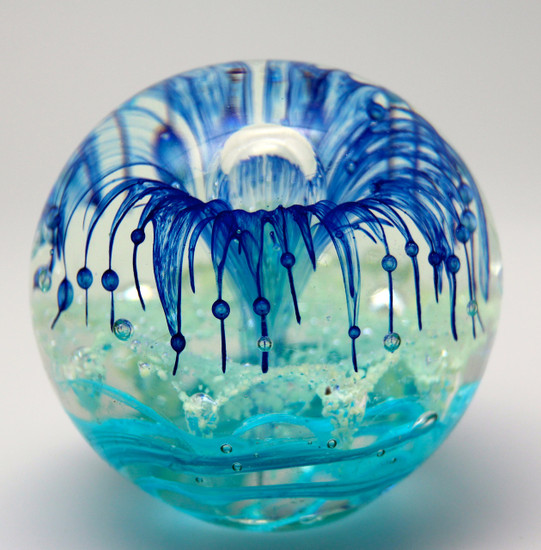Blue Glass Flower Paperweight/Glow In The Dark/Handcrafted/Home Decor