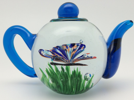 Glass Butterfly Teapot/Glow In The Dark/Handcrafted/Blown Glass Art/Home Decor