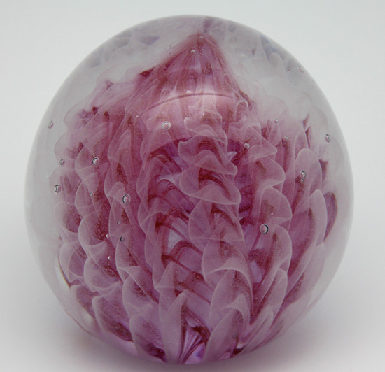 Pink Feathers Paperweight/Handcrafted/Glow In The Dark/Blown Glass/Decor