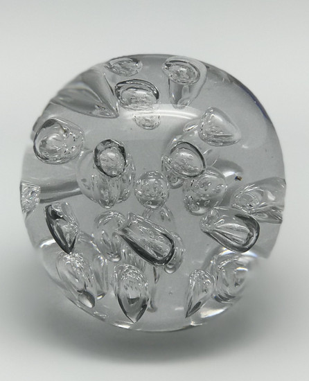 Clear Glass Paperweight with Bubbles/Handcrafted/Blown Glass Art