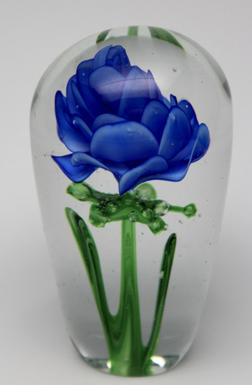 Blue Glass Rose/Handcrafted/Blown Glass Art/Home Decor