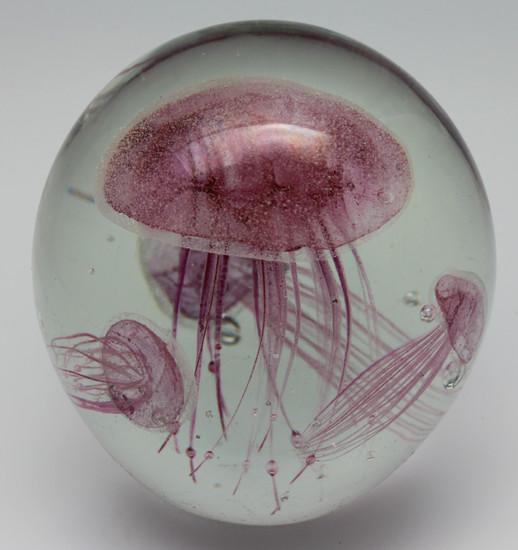 Pink Glass Jellyfish Aquarium/Handcrafted/Glow In The Dark/Home Decor