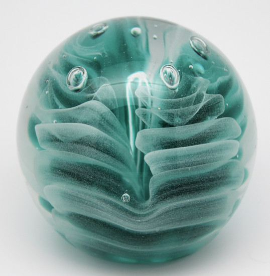 Teal Obisidian Paperweight/Glow In The Dark/Handcrafted/Home Decor