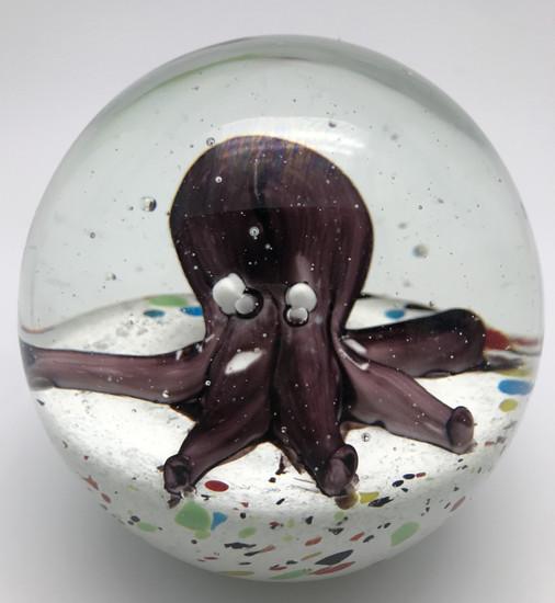 Octopus Paperweight/Hand Blown Glass/Seaside Decor