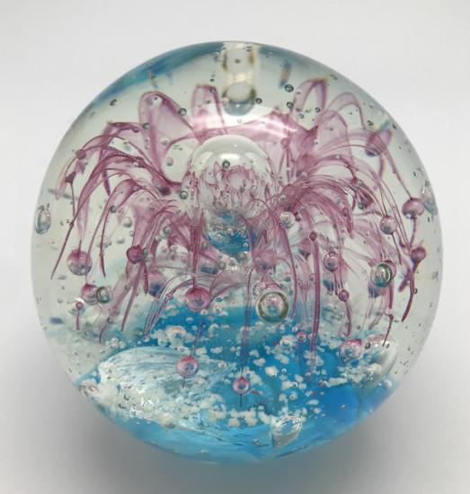 Pink Flower Paperweight/Glow In The Dark/Hand Blown Glass/Home Decor
