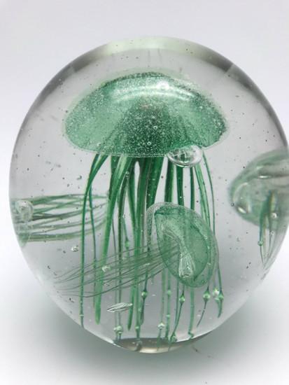 Green Jellyfish Aquarium/Handcrafted/Glow In The Dark/Home Decor
