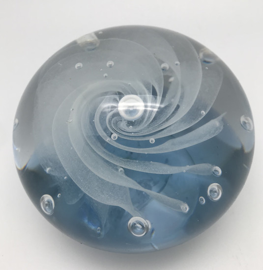 Milky Way Paperweight/Glow In The Dark/Handcrafted/Blown Glass Art/Home Decor