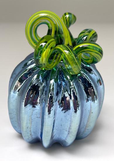 Mini Pumpkin - Iridescent Blue with Green Stem