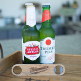 Wood Bottle Opener - Slim Profile with Integrated Metal Jaw
