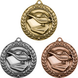 Stock Small Academic & Sports Laurel Medals - Book & Lamp