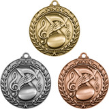 Stock Small Academic & Sports Laurel Medals - Music