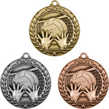 Stock Small Academic & Sports Laurel Medals - Volleyball