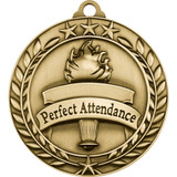 Stock Small Academic & Sports Laurel Medals - Perfect Attendance