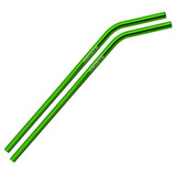 Bent Green Stainless Steel Straws Qty 2