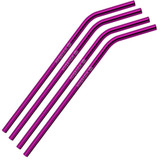 Bent Violet Stainless Steel Straws Qty 4