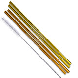 Gold And Copper Stainless Steel Straws Qty 4 Straws
