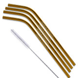 Gold And Copper Bent Stainless Steel Straws Qty 4 Straws
