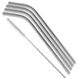Silver Bent Stainless Steel Straws Qty 4 Straws