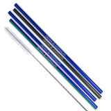Black Blue And Rainbow Stainless Steel Straws Qty 4 Straws