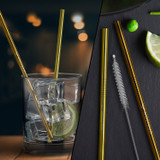 Gold And Copper Stainless Steel Straws Qty 2 Straws