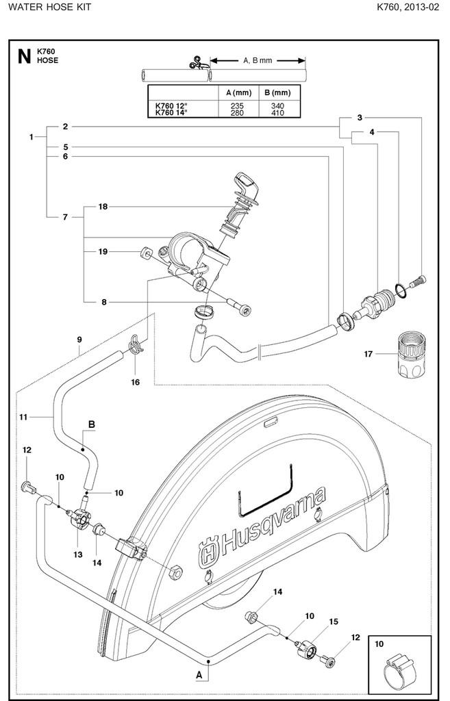 Husqvarna K760ii Valve Assembly Hose Kit
