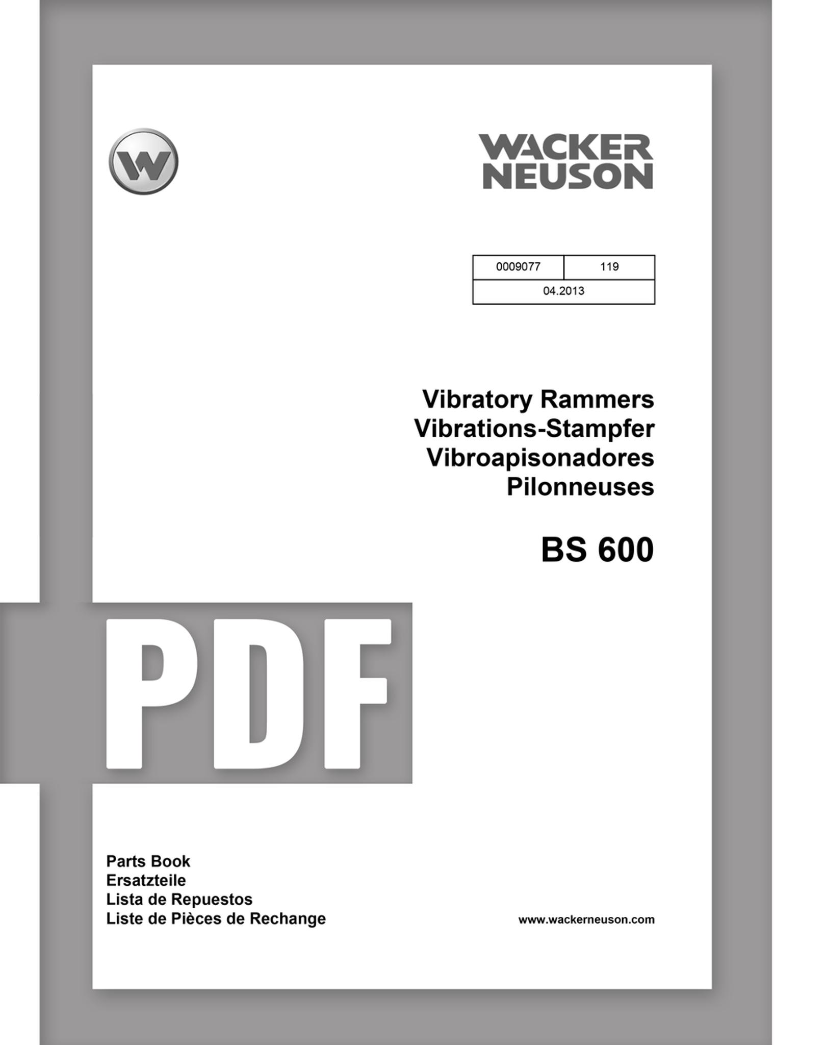 Parts Manual | BS600 - Item: 0009077, REV119 | Free Download