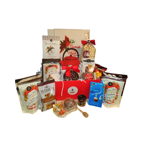 """Grande Tea for One - Christmas Gift Basket, a beautiful Christmas gift filled with gourmet food items, 1 Christmas Red Ironware Teapot, tea accessories and seasonal tea towels. This gift comes with an assortment of gourmet cookies, candies,3 teas, honey and 4 gifts that will last long after the goodies are gone along with the reusable gift tray. Cornucopia's gourmet teas are sourced from the finest tea plantations from around the world. This high-quality gourmet gift basket and tea gifts is a Cornucopia exclusive that you can be proud to give.  Includes:  1 Ironware Teapot Red with relief, enameled inside 1 cup 10 oz. with strainer 3 - 1 oz. Cornucopia Christmas Teas Candy Cane Ingredients: apple pieces, pineapple cubes (pineapple, sugar), natural flavoring, marshmallows (glucose-fructose syrup, sugar, water, gelatin, corn starch, natural flavoring), whole star aniseed, freeze-dried whole red currants, peppermint, pink cornflower blossoms. Mulled Wine ingredients: apple pieces, hibiscus blossoms, elderberries, rose hip peel, Mistletoe, cinnamon rods, flavoring celery seed oil, orange slices, cloves. White Christmas ingredients: Green tea (50 %), cocoa peel, ginger cubes (sugar, ginger, acidifying agent: citric acid), pear pieces, ginger pieces, flavoring, freeze-dried pear pieces 1 Angel Tea Ball, Stainless Steel 1 1/2"""" made in Germany Cha Cult 1 White tea towel with a cardinal and the embroidered message """"Cardinals appear when angels are near."""" accents and embroidered trim. 22 1/2"""" H x 13 3/4"""" W 1 Honey Spool 1 Mini 1 oz. Dickinson's Honey 1.4 oz. Walker Shortbread Cookie .8 oz. Lindt Lindor Snowmen Milk Chocolate Truffles .7 oz. Ghirardelli Milk Chocolate Caramel Snowmen .9 oz. Long Grove Snowball pretzels 2.5 oz. J & M Holiday Spice Cookie 1.7 oz. Marich Dark and White Chocolate Gingerbread Bites 1.25 oz. Milk Chocolate Smores 1.75 Dark Chocolate Peppermint Snowflake  Gift comes in a keepsake red handled tray, white shred and shrink wrapped with white bow. Gift E"""