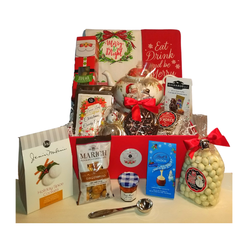 "Merry & Bright - Christmas Gift Basket, a beautiful Christmas gift filled with gourmet food items, Santa Teapot, tea accessories and seasonal tea towels.  This gift comes with an assortment of gourmet cookies, candies, Cornucopia Candy Cane tea, honey and 6 gifts that will last long after the goodies are gone along with the reusable gift tray. Cornucopia's gourmet teas are sourced from the finest tea plantations from around the world.  This high-quality gourmet gift basket and tea gifts is a Cornucopia exclusive that you can be proud to give.  Includes:  9.5 x 5.6"" teapot, Soft white with a Christmas floral print background with Santa and his animal friends  Dishwasher safe 1 oz. Cornucopia Christmas Teas Candy Cane Ingredients: apple pieces, pineapple cubes (pineapple, sugar), natural flavoring, marshmallows (glucose-fructose syrup, sugar, water, gelatin, corn starch, natural flavoring), whole star aniseed, freeze-dried whole red currants, peppermint, pink cornflower blossoms. 1 Snowman Tea Ball, Stainless Steel 1 1/2"" made in Germany Cha Cult 1 Red waffle tea towel with embroidered ""Eat Drink and be Merry"" message. 21""H X 13 3/4""W  1 White tea towel with screen printed ""Merry & Bright"" message inside a wreath. 14""W X 22 1/2""D 1 Tea Measuring Spoon with engraved ""1 cup of perfect tea"" on the handle"" 1  Mini 1 oz. Bonne Maman Honey  .8 oz. Lindt Lindor Snowmen Milk Chocolate Truffles 2.5 oz. J & M Holiday Spice Cookie .7 oz. Ghirardelli Milk Chocolate Caramel Snowmen .9 oz. Long Grove Snowball pretzels 1.5 oz. Too Good Gourmet Christmas Sugar Cookie Box 1.7 oz. Marich Dark and White Chocolate Gingerbread Bites 1.25 oz. Milk Chocolate Smores 1.75 oz. Dark Chocolate Peppermint Snowflake  Gift comes in a keepsake red handled tray, white shred and shrink wrapped with white bow. Gift Enclosure Card is placed inside the gift with your personal message and 10% off tea discount coupon."