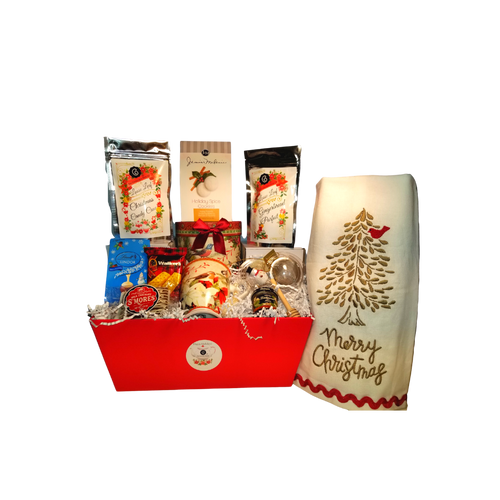 "Heaven and Nature Sing Tea Collection with Mug Gift Basket: will brighten anyone's holiday in its own matching print gift box with matching satin ribbon. A decorative tassel on the handle adds a lovely finishing touch.  Two Cornucopia's loose leaf Christmas teas, and assortment of christmas treat favorites. This gift comes with 6 keepsakes to last long after the goodies are enjoyed for an extra joyous gift this season!  Includes:  4.9""  Porcelain Mug in gift box Christmas Bird and floral print with matching print gift box, dishwasher safe 2-1 oz. 12 cups Cornucopia Christmas Tea favorites, Gingerbread Parfait, and Candy Cane  Candy Cane: We have captured the unmistakable taste of this well-loved candy in this unique tea blend, underlining it with an intense sweetness and rounding it off with a touch of peppermint. The bright red currants are a real eye-catcher and deliver a perfect performance.  Ingredients: apple pieces, pineapple cubes (pineapple, sugar), natural flavoring, marshmallows (glucose-fructose syrup, sugar, water, gelatin, corn starch, natural flavoring), whole star aniseed, freeze-dried whole red currants, peppermint, pink cornflower blossoms. Gingerbread Parfait: Black tea Spicy, sweet gingerbread and fruity, lively mandarins are a must for anyone who loves the enticing scents of wintry spices and Christmas preparations. Ingredients: (43%), apple pieces, half-fermented tea (8%), flavoring, cinnamon pieces, freeze-dried yoghurt granules (skimmed milk yogurt, sugar, maltodextrin, modified starch, acidifying agent: citric acid), sliced almonds, mandarin sections, whole star aniseed, cardamom (whole), cinnamon rods, Contains almond and milk   1- Mini 1 oz. Dickinson's honey  1  Honey spool  1  Snowman Tea ball, made in Germany by Cha Cult 1 Heavan and Nature's Sing tea towel Silver embroidered christmas tree with red bird resting on bow.  2.5 oz.J & M Holiday Spice Cookie 1.25 oz. Milk Chocolate Smores .8 oz. Lindt Snowmen Milk Chocolate Truffles 1.4 oz.Walker Shortbread Cookie  Cornucopia Teas are of the highest quality and sourced from plantations around the world.  Our teas come in resealable pouches with decorative tea labels and includes a recipe and brewing guide.  Your personal message is included on the pamphlet as your enclosure card.  Gift comes shrink wrapped in reusable tray and decorative bow."