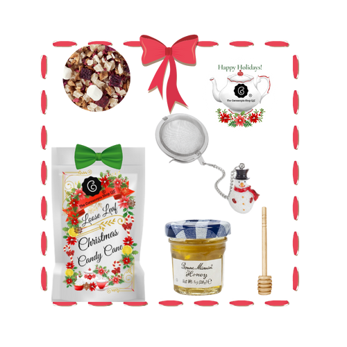 Santa's Tea Shop - Candy Cane Gift Basket: Special Buy Free Shipping  This gift basket comes ready to use with a snowman tea ball, mini honey and honey spool. A wonderful time to experience Cornucopia's organic, loose leaf teas. This gift enclosure card includes a 10% off coupon for your recipient to uese towards their first purchase of tea.  Includes:  1-1 oz. 12 cups Candy Cane, a Cornucopia Christmas Kitchen Tea favorite :We have captured the unmistakable taste of this well-loved candy in this unique tea blend, underlining it with an intense sweetness and rounding it off with a touch of peppermint. The bright red currants are a real eye-catcher and deliver a perfect performance. Ingredients: apple pieces, pineapple cubes (pineapple, sugar), natural flavoring, marshmallows (glucose-fructose syrup, sugar, water, gelatin, corn starch, natural flavoring), whole star aniseed, freeze-dried whole red currants, peppermint, pink cornflower blossoms. 1- Mini 1 oz. Bonne Maman Honey 1 Honey spool 1 Angel Tea ball, made in Germany by Cha Cult  Cornucopia Teas are of the highest quality and sourced from plantations around the world. Our teas come in resealable pouches with decorative tea labels and includes a recipe and brewing guide. Your personal message is included on the pamphlet as your enclosure card. Gift comes shrink wrapped in reusable tray and decorative bow.