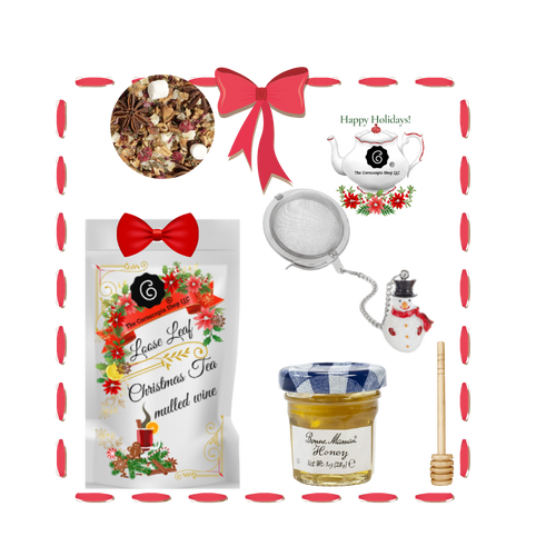 Santa's Tea Shop - Mulled Wine Gift Basket: Special Buy Free Shipping  This gift basket comes ready to use with a snowman tea ball, mini honey and honey spool. A wonderful time to experience Cornucopia's organic, loose leaf teas.  This gift enclosure card includes a 10% off coupon for your recipient to uese towards their first purchase of tea.   Includes:  1-1 oz. 12 cups Mulled Wine, a Cornucopia Christmas Kitchen Tea favorite: This tea blend is a real taste explosion thanks to the exceptional flavor composition of the incredibly unique German version. What makes this blend so special: the traditional flamed cone sugar, which slowly melts into delicious caramel.  Pure exaltation!  Ingredients: apple pieces, hibiscus blossoms, elderberries, rose hip peel, Mistletoe, cinnamon rods, flavoring celery seed oil, orange slices, cloves.  1- Mini 1 oz. Bonne Maman Honey  1 Honey spool  1Snowman Tea ball, made in Germany by Cha Cult  Cornucopia Teas are of the highest quality and sourced from plantations around the world.  Our teas come in resealable pouches with decorative tea labels and includes a recipe and brewing guide.  Your personal message is included on the pamphlet as your enclosure card.  Gift comes shrink wrapped in reusable tray and decorative bow.